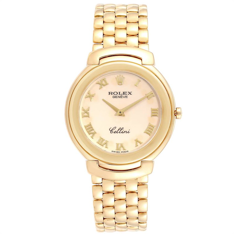 Rolex Cellini Yellow Gold Ivory Roman Dial Mens Watch 6623 Box Papers SwissWatchExpo