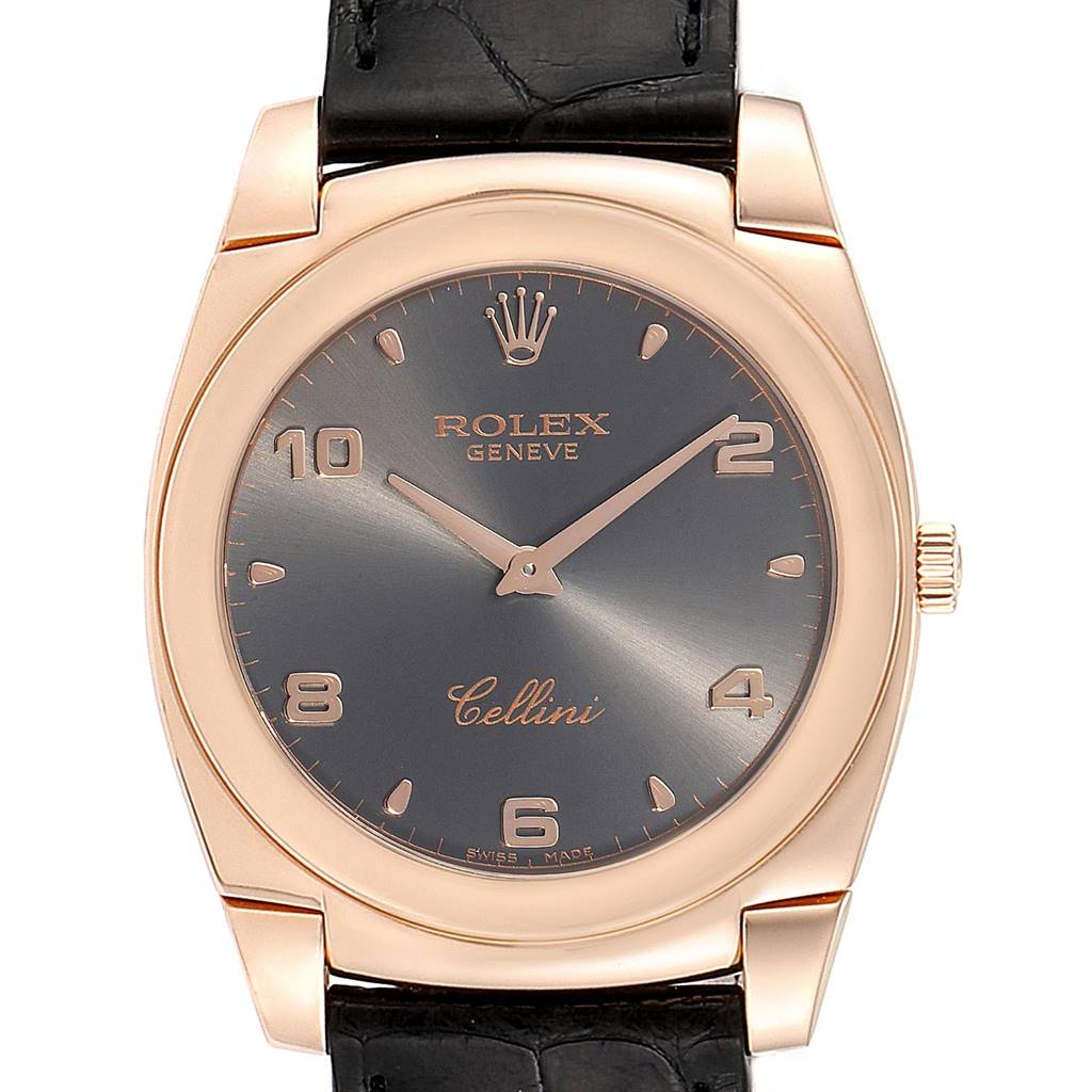 Photo of Rolex Cellini Cestello 18K Rose Gold Slate Dial Mens Watch 5330