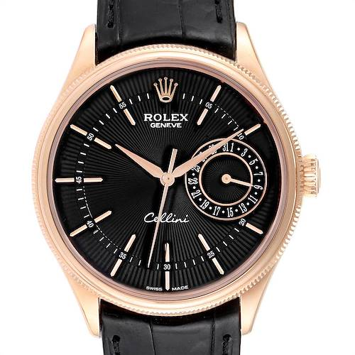 Photo of Rolex Cellini Date 18K Everose Gold Automatic Mens Watch 50515 Box Card