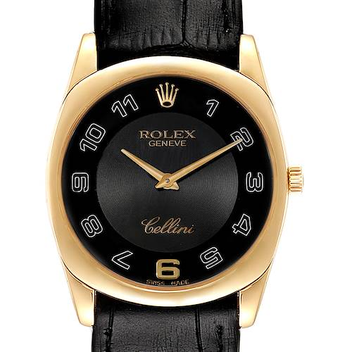 Rolex Cellini Danaos Yellow Gold Black Dial Mens Watch 4233 Papers