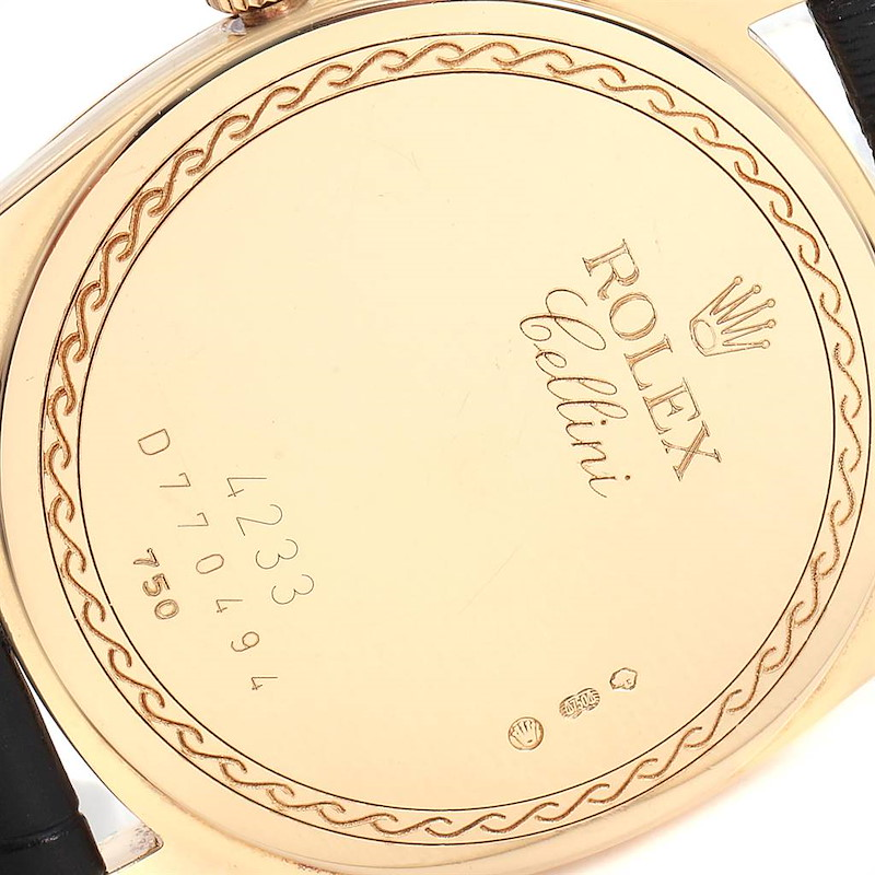 Rolex Cellini Danaos Yellow Gold Black Dial Mens Watch 4233 Papers SwissWatchExpo