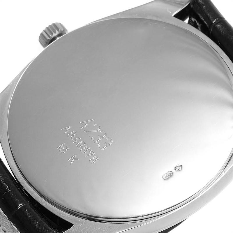 Rolex Cellini Danaos 18K White Rose Gold Black Strap Mens Watch 4233 SwissWatchExpo