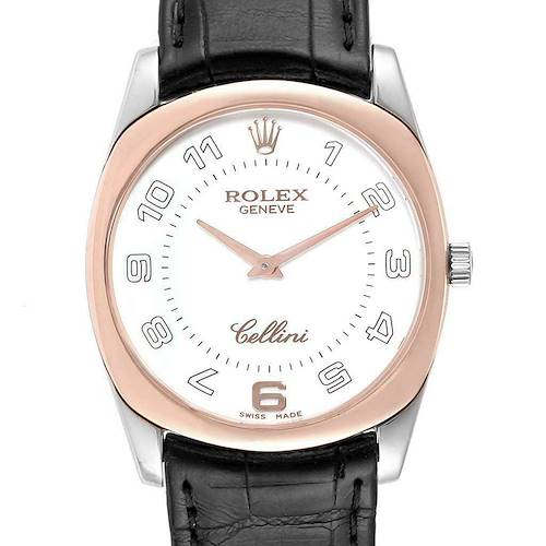 Rolex Cellini Danaos 18K White Rose Gold Black Strap Mens Watch 4233