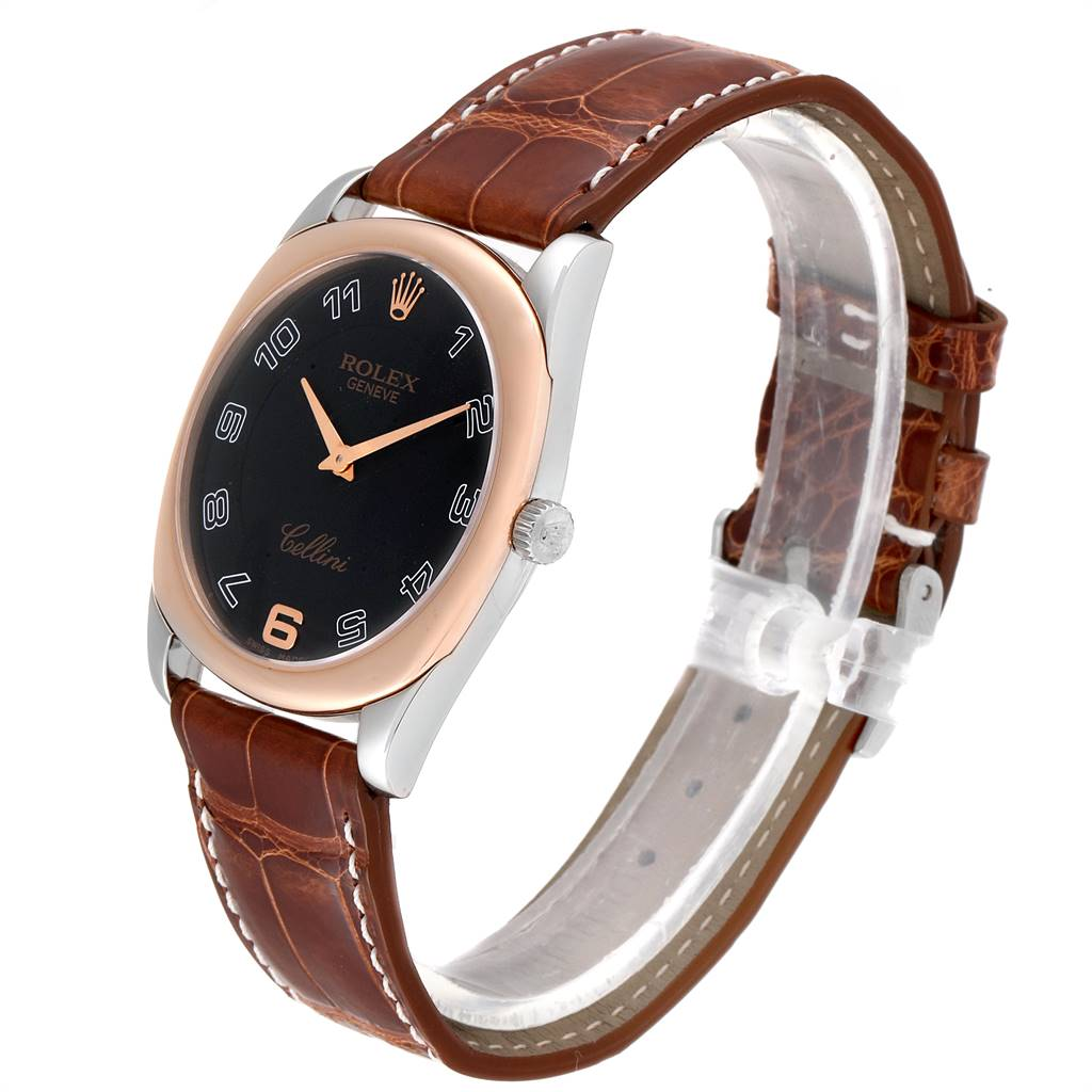 Rolex Cellini Danaos White and Rose Gold Brown Strap Mens Watch 4233 SwissWatchExpo