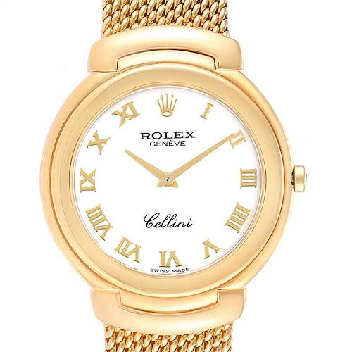 Photo of Rolex Cellini 38mm Yellow Gold White Roman Dial Mens Watch 6623