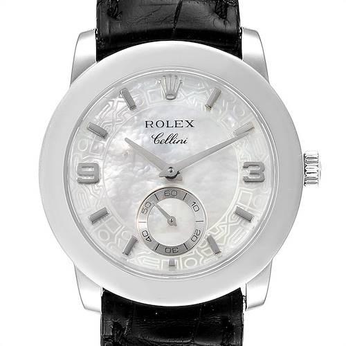 Photo of Rolex Cellini Cellinium Platinum Mother of Pearl Mens Watch 5240