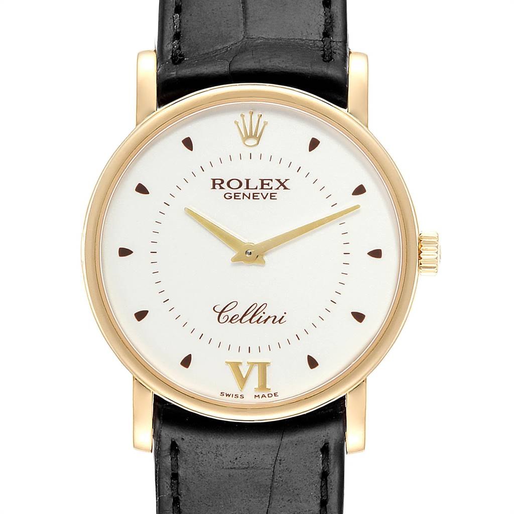 Photo of Rolex Cellini Classic Yellow Gold Brown Strap Mens Watch 5115 Box