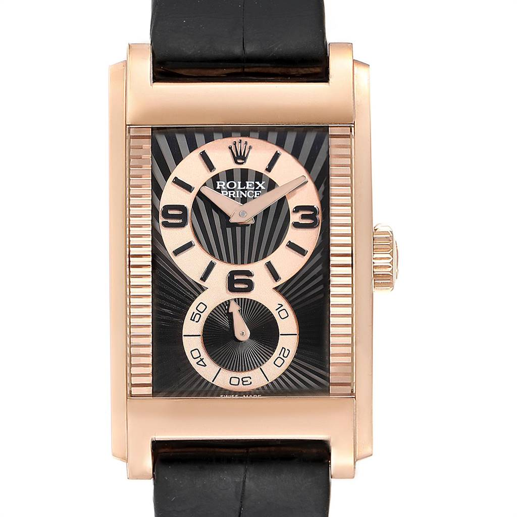 Photo of Rolex Cellini Prince 18K Rose Gold Black Dial Mens Watch 5442