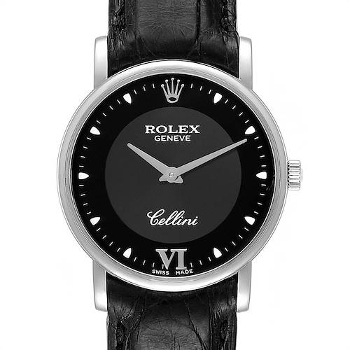 Photo of Rolex Cellini Classic 32mm White Gold Black Dial Mens Watch 5115