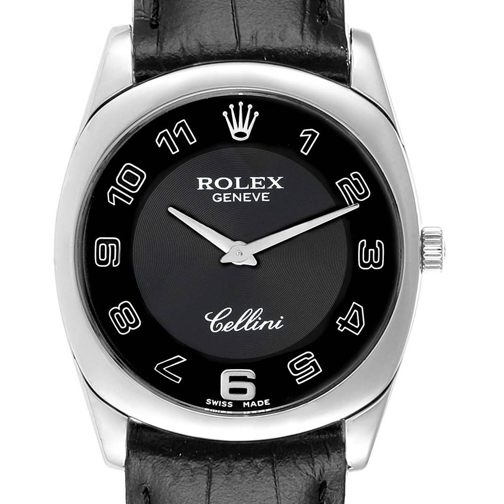 Photo of Rolex Cellini Danaos 18K White Gold Black Dial Mens Watch 4233