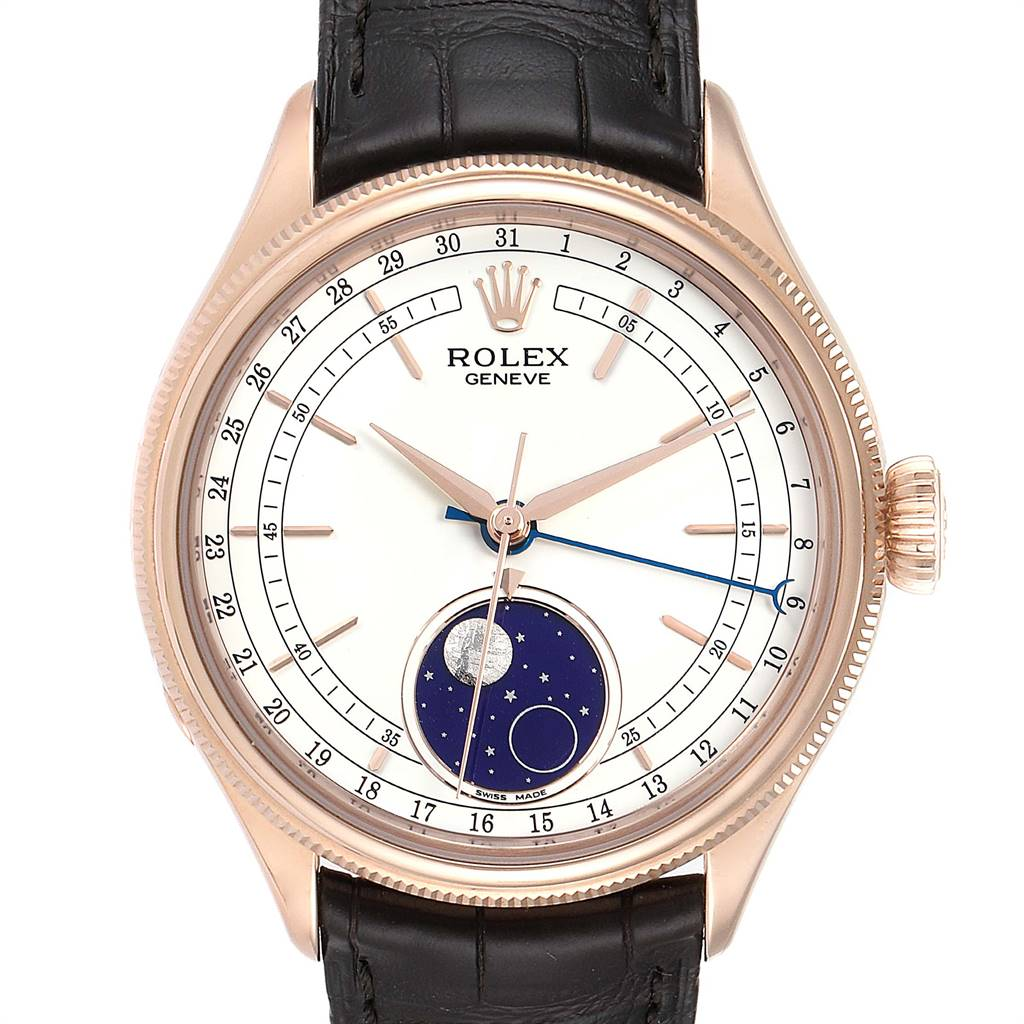 Photo of Rolex Cellini Moonphase Everose Gold Automatic Mens Watch 50535 Box Card