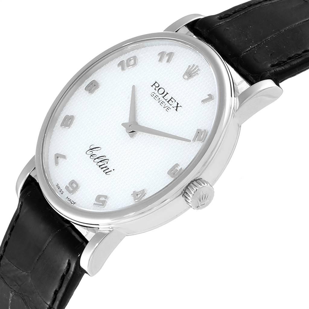 Rolex Cellini Classic White Gold MOP Dial Black Strap Mens Watch 5115 SwissWatchExpo