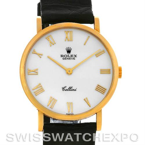 Photo of Rolex Cellini Classic 18k Yellow Gold Watch 5112 White Roman Dial