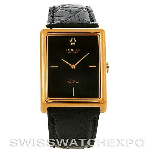 Rolex Cellini Vintage 18k Yellow Gold Black Dial 4105