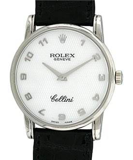 827WR Rolex Mens 18k White Gold Cellini Classic 5116/9 SwissWatchExpo