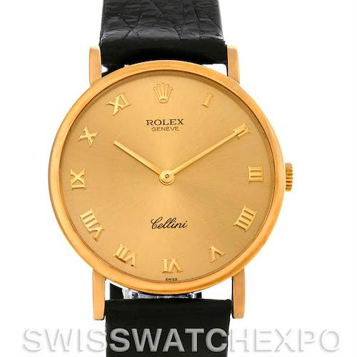 Photo of Rolex Cellini Classic 18k Yellow Gold Watch 5112 Champagne Roman Dial