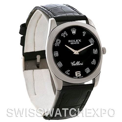 Rolex Cellini Danaos18k White Gold Black Dial Watch 4233 SwissWatchExpo