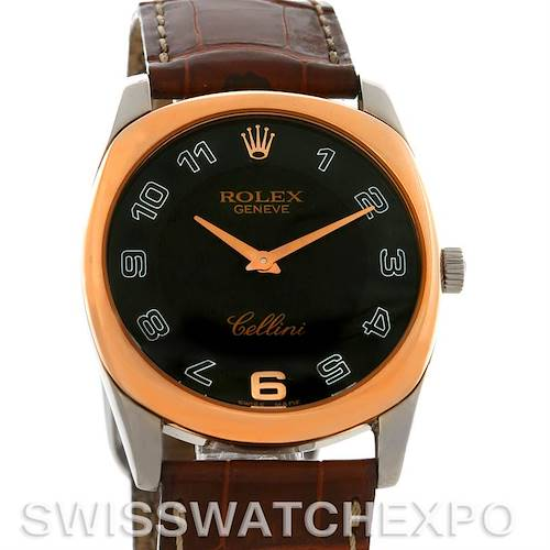 Photo of Rolex Cellini Danaos 18k White and Rose Gold Black Dial Watch 4233