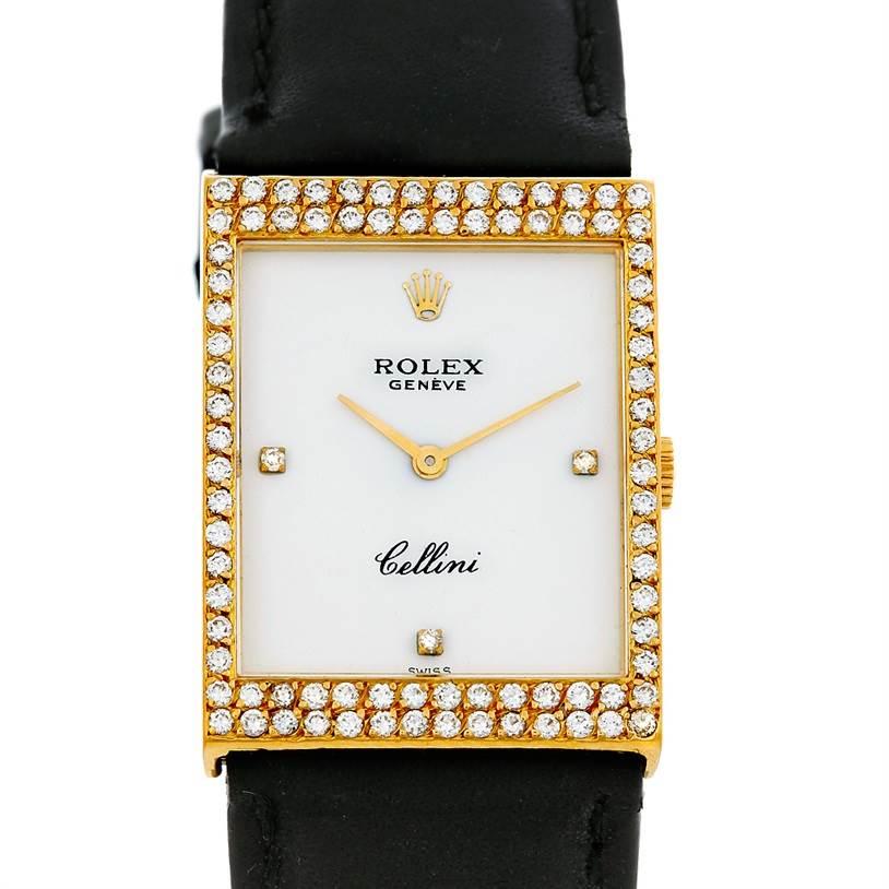Cellini Diamond: Rolex Cellini Vintage 18k Yellow Gold Diamond Watch 4032