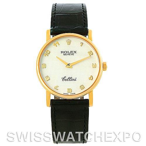 5374 Rolex Cellini Classic Mens 18K Yellow Gold Mother of Pearl Dial Watch 5115 SwissWatchExpo