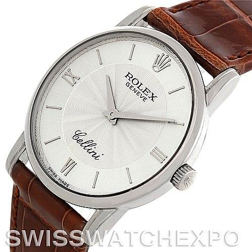 5809 Rolex Cellini Classic Mens 18K White Gold 5116 Watch SwissWatchExpo