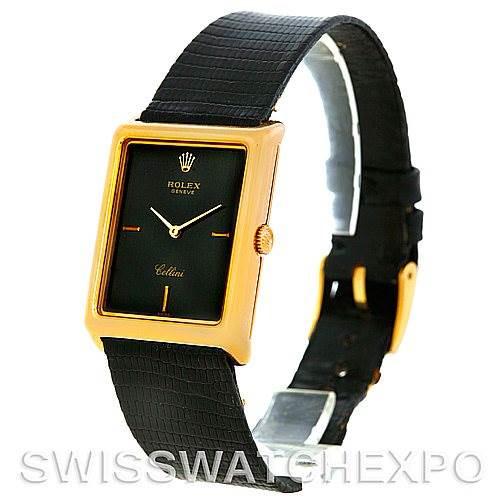 Rolex Cellini Vintage 18k Yellow Gold Black Dial 4105 SwissWatchExpo