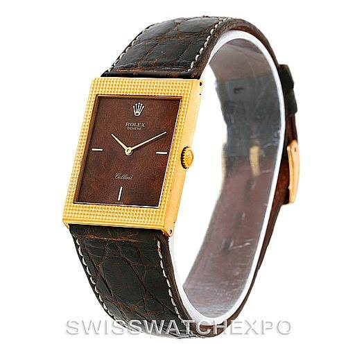 Rolex Cellini Vintage 18k Yellow Gold Wooden Dial Watch 4127 SwissWatchExpo