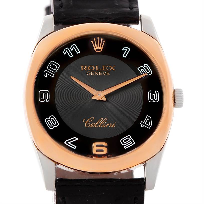 7998 Rolex Cellini Danaos 18k White and Rose Gold Black Strap Watch 4233 SwissWatchExpo