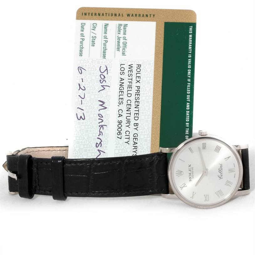 9013 Rolex Cellini Classic Mens 18K White Gold Watch 5115 SwissWatchExpo