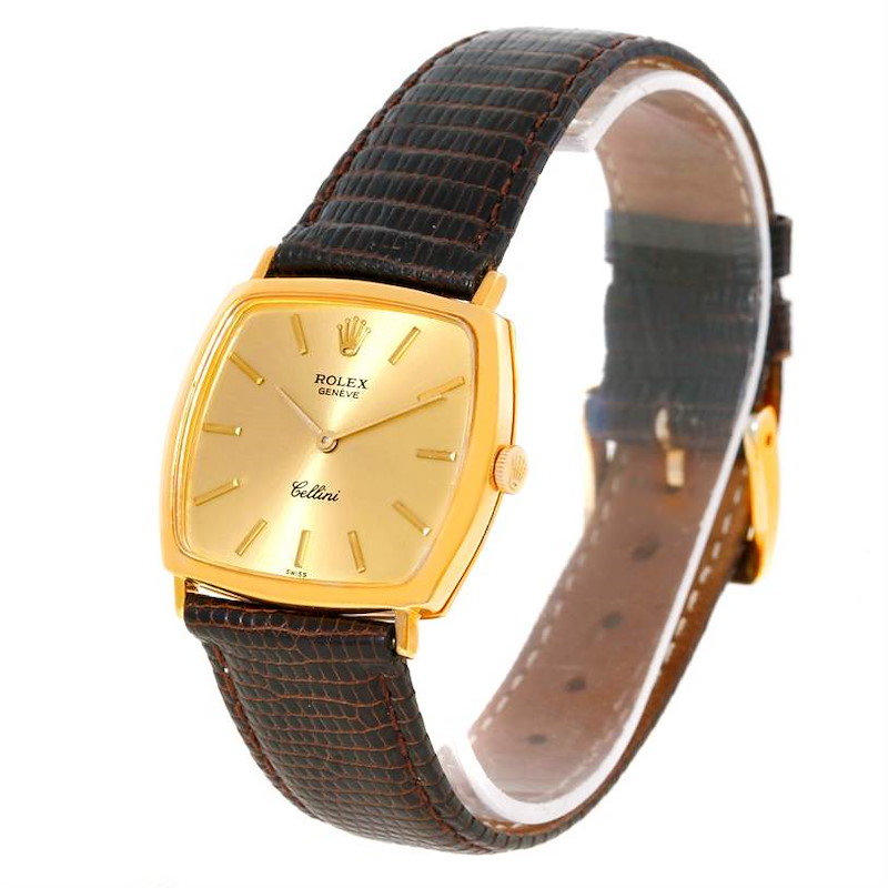 Rolex Cellini Vintage 18k Yellow Gold Champagne Dial Watch 3805 SwissWatchExpo