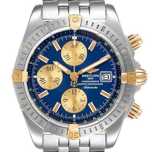 Photo of Breitling Chronomat Steel 18K Yellow Gold Mens Watch B13356 Box Papers