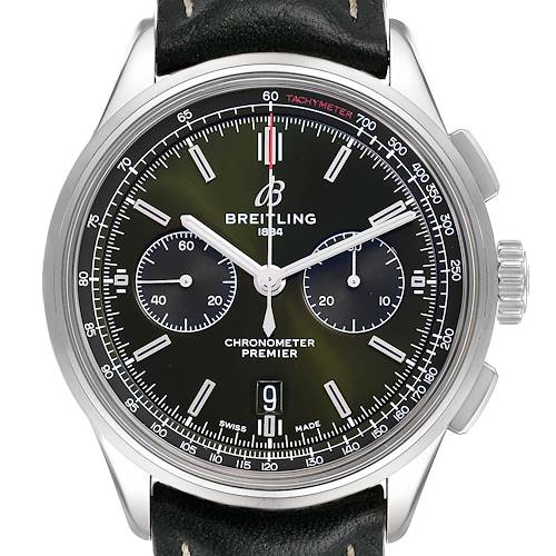 Photo of Breitling Premier B01 Chronograph 42 Green Dial Steel Mens Watch AB0118
