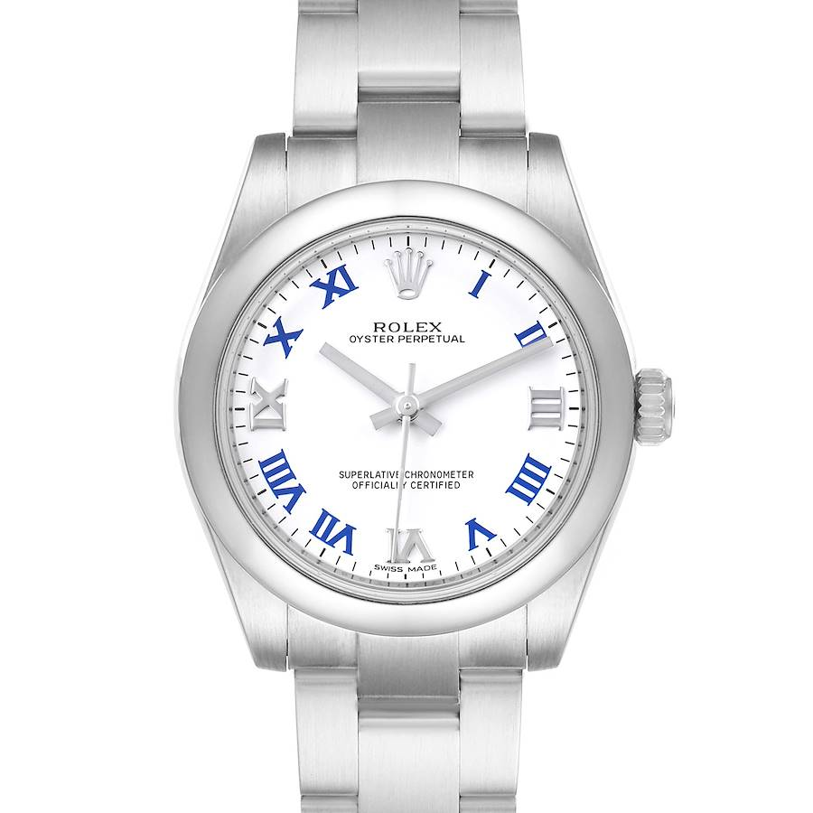 Rolex Oyster Perpetual Midsize White Dial Ladies Watch 177200 SwissWatchExpo