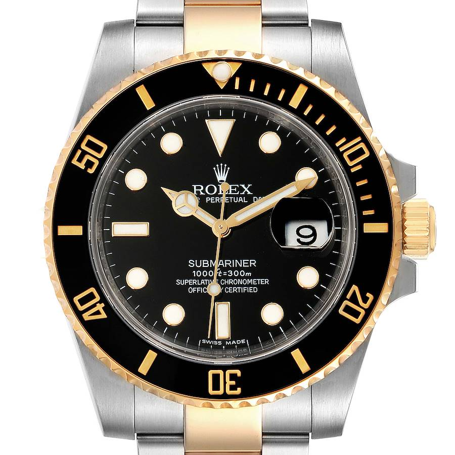 Rolex Submariner Steel Yellow Gold Black Dial Automatic Mens Watch 116613 SwissWatchExpo