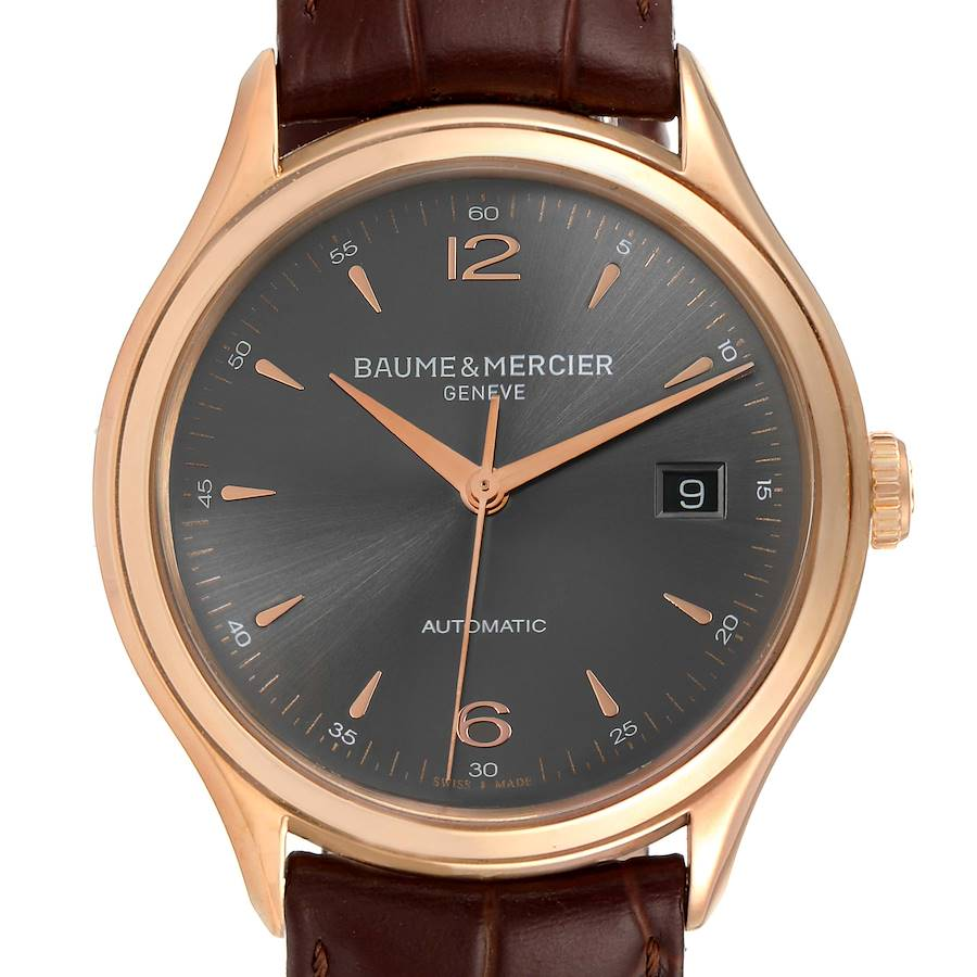 Baume Mercier Clifton 18k Rose Gold Grey Dial Mens Watch 10059 Box Papers SwissWatchExpo