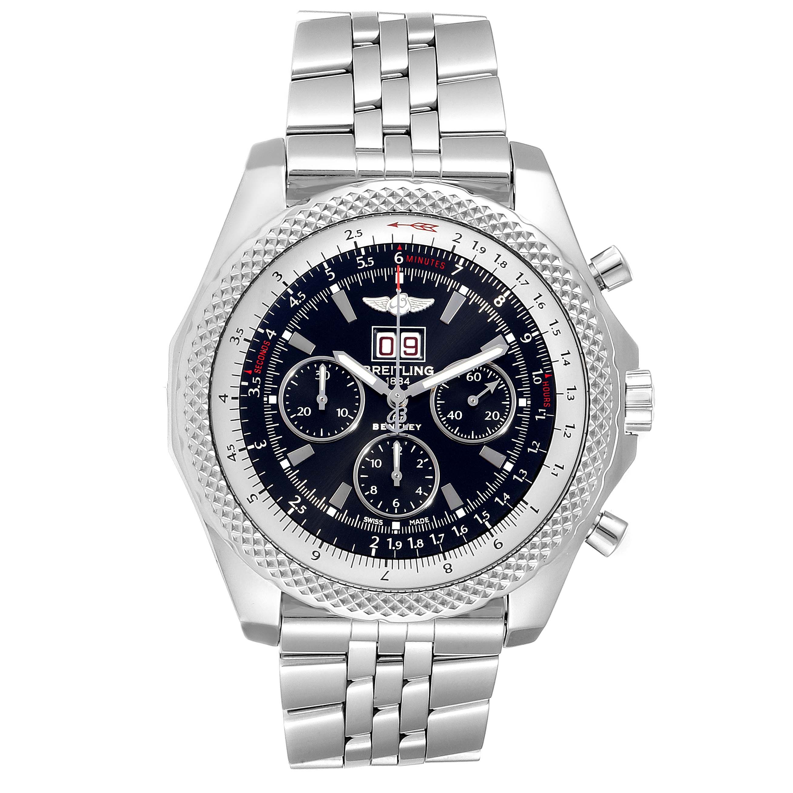 Breitling Bentley 6.75 Speed Black Dial Chronograph Mens Watch A44364 SwissWatchExpo
