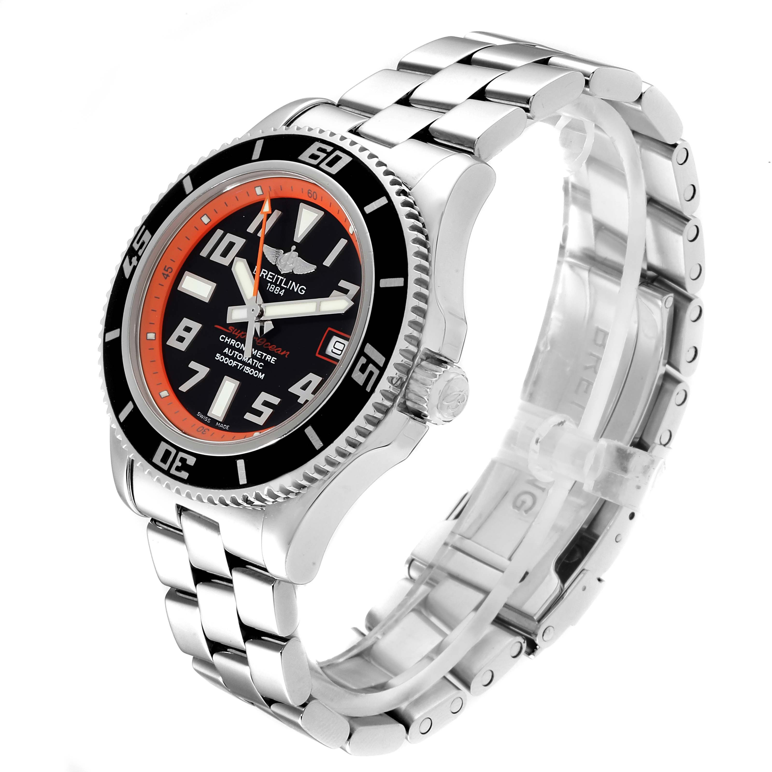 Breitling Superocean Abyss Orange Limited Edition Watch A17364 Box Papers SwissWatchExpo