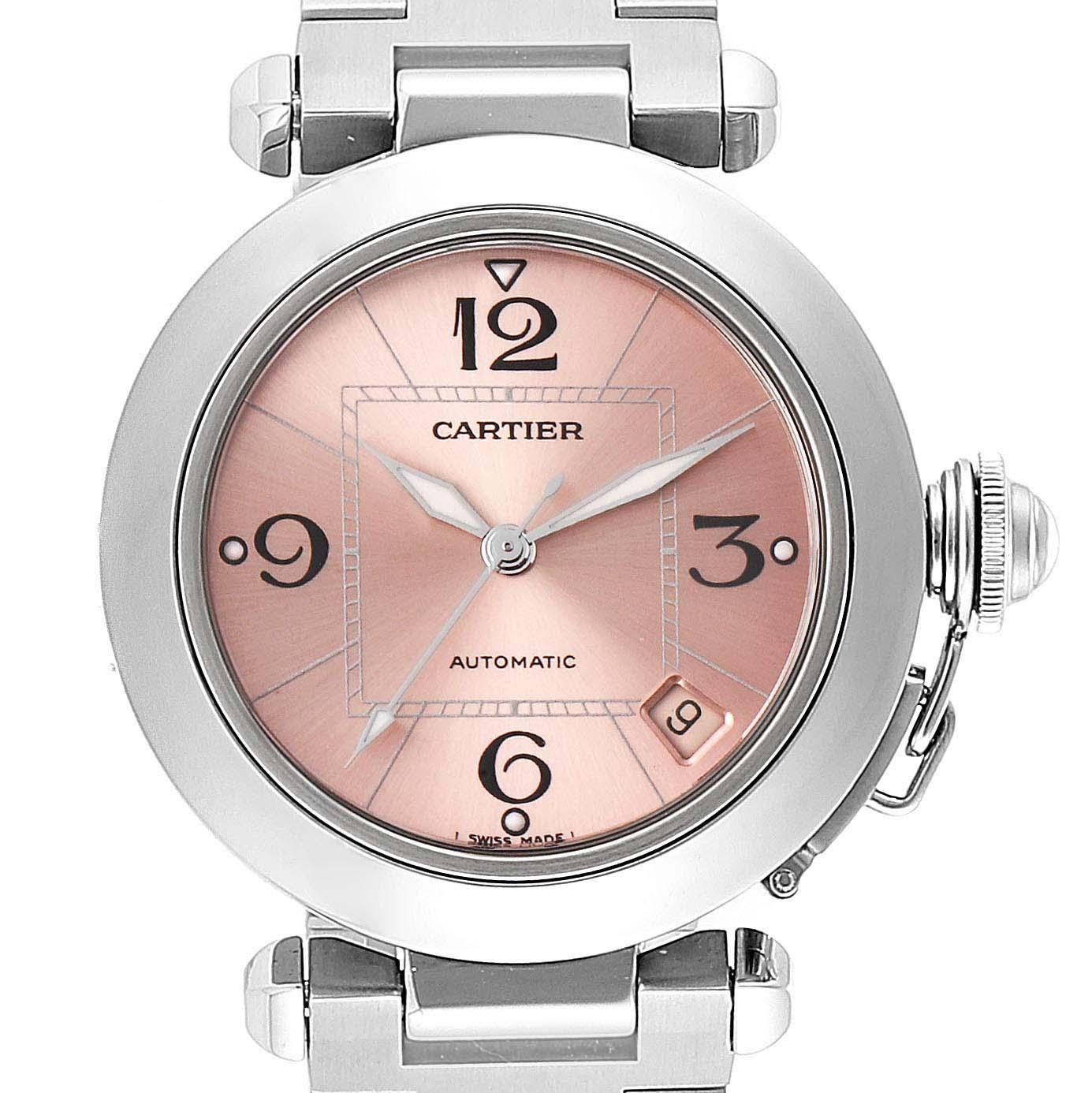 Cartier Pasha C Midsize Pink Dial Automatic Ladies Watch W31075M7 Box
