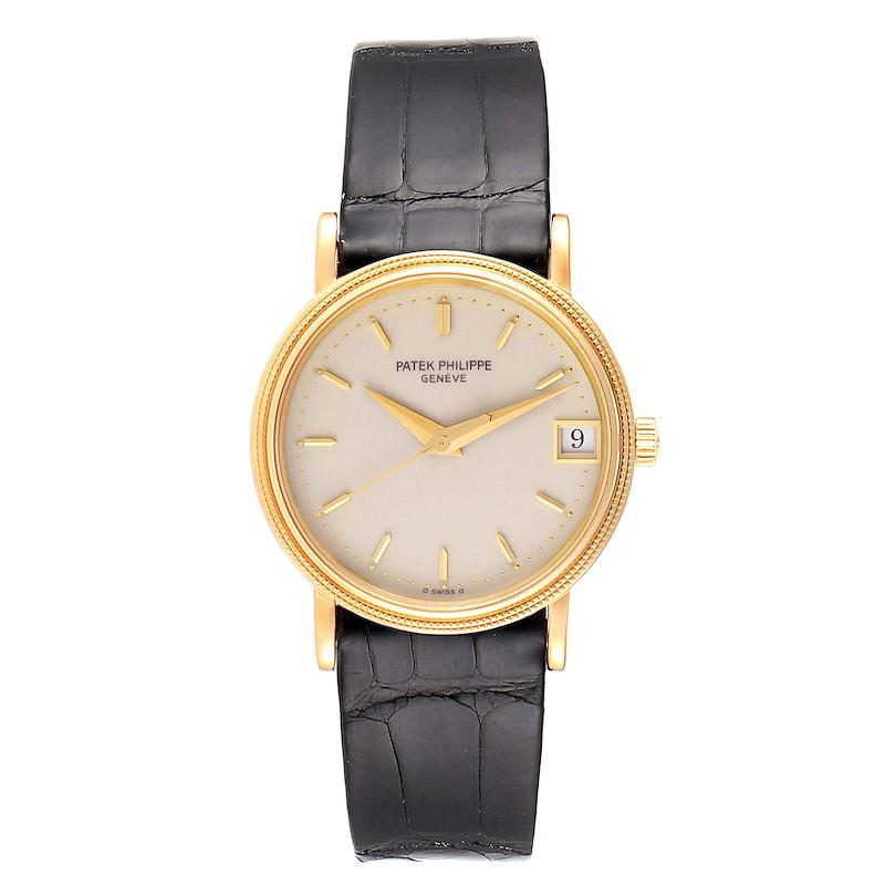 Patek Philippe Calatrava 18k Yellow Gold Automatic Mens Watch 3802 SwissWatchExpo
