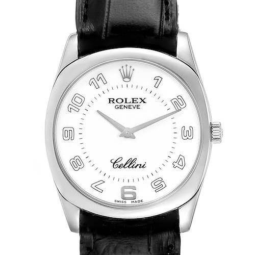 Photo of Rolex Cellini Danaos 18K White Gold Black Strap Mens Watch 4233
