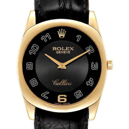 Photo of Rolex Cellini Danaos 18K Yellow Gold Black Dial Mens Watch 4233