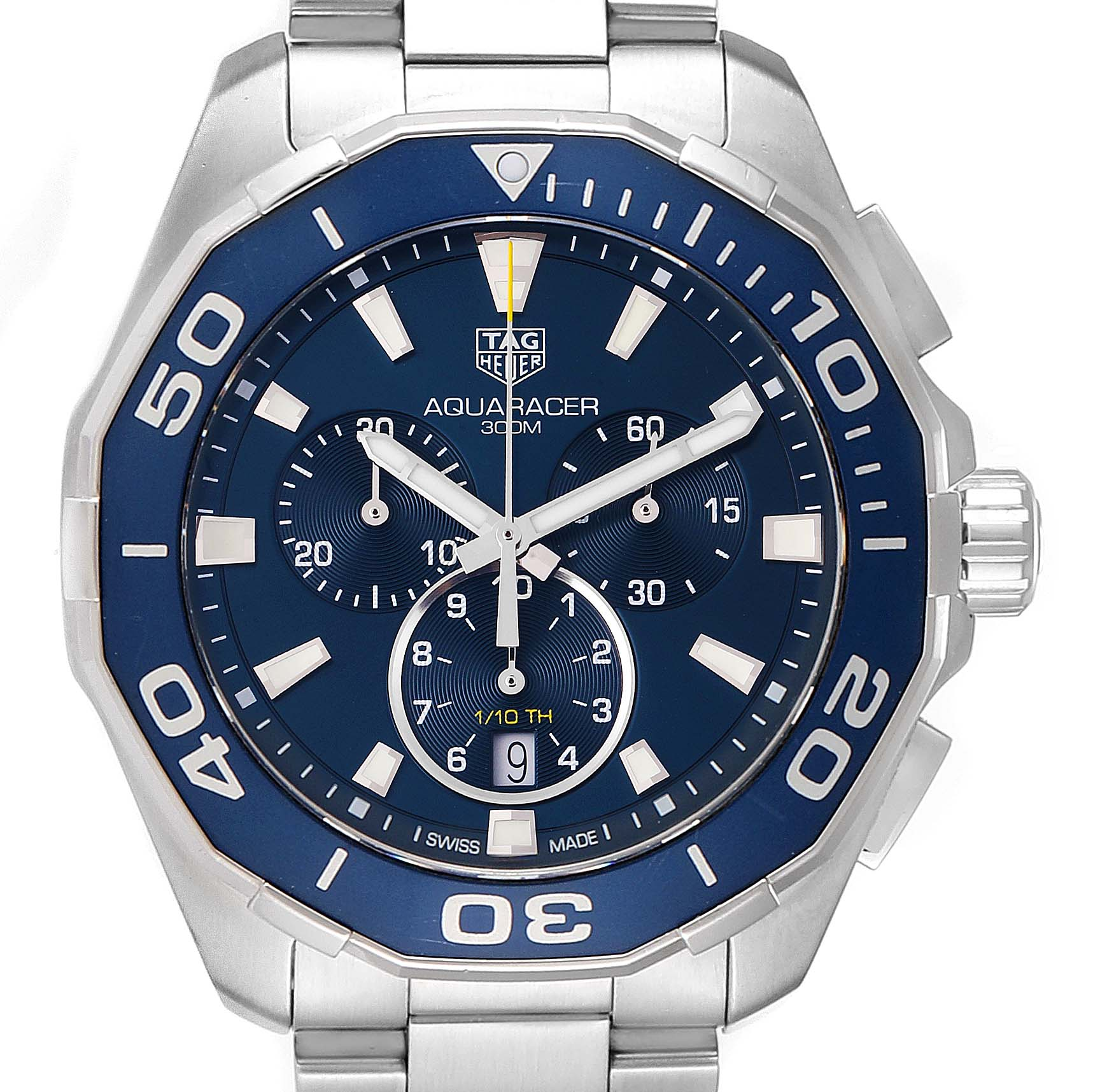 Tag Heuer Aquaracer Blue Dial Chronograph Mens Watch CAY111B Box Card