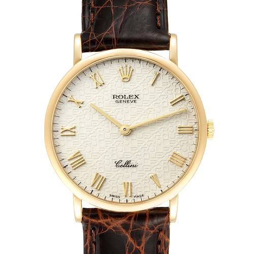 Photo of Rolex Cellini Classic Yellow Gold Anniversary Dial Black Strap Watch 5112