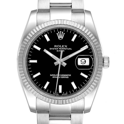 Rolex Date 34 Steel White Gold Black Dial Mens Watch 115234