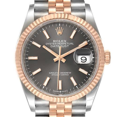 Photo of Rolex Datejust 36 Rhodium Dial Steel EverRose Gold Watch 126231 Box Card