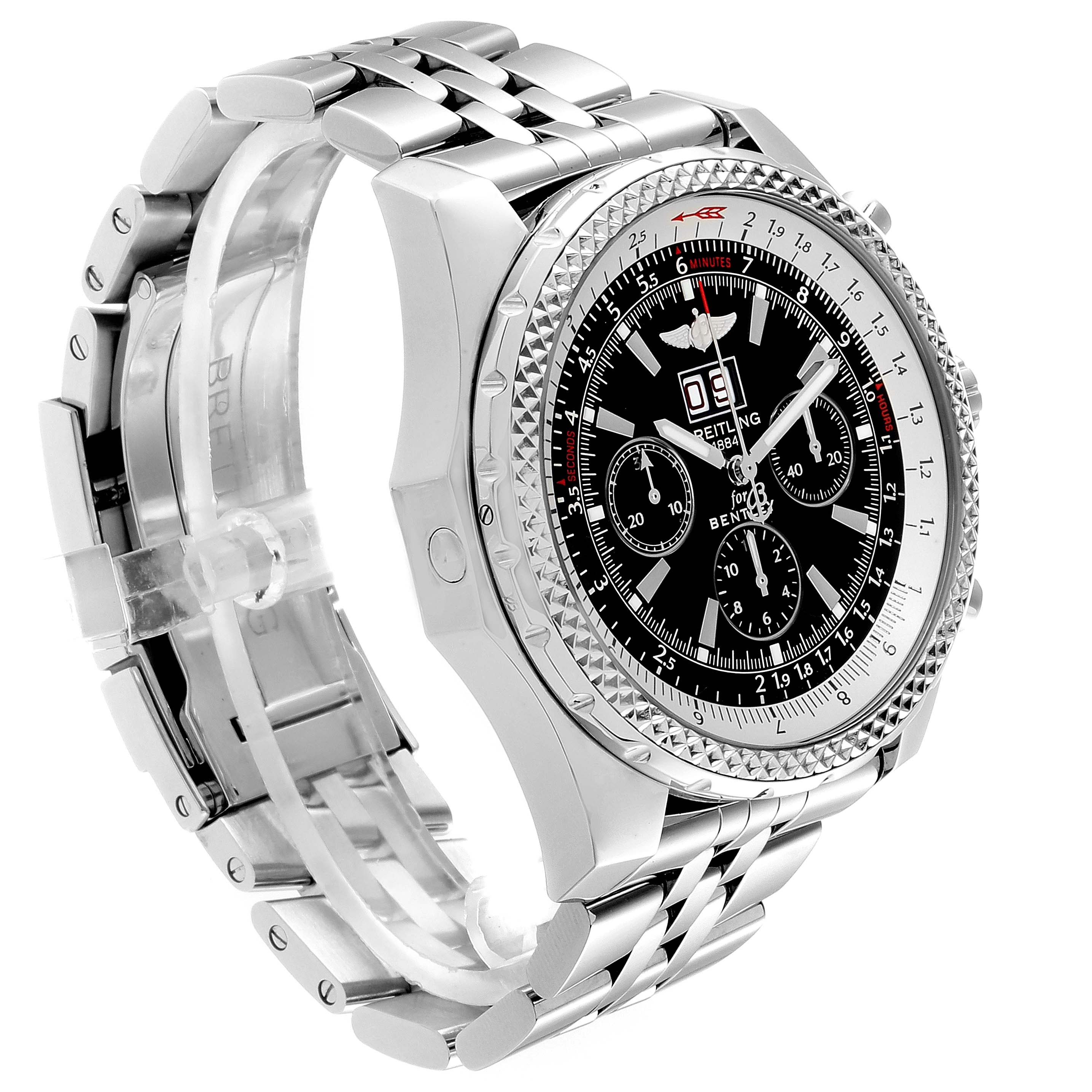 Breitling Bentley Motors Black Dial Chronograph Mens Watch A44362 Box SwissWatchExpo
