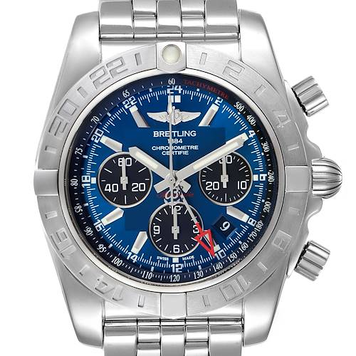 Breitling Chronomat Evolution 44 GMT Steel Mens Watch AB0420 Box Papers