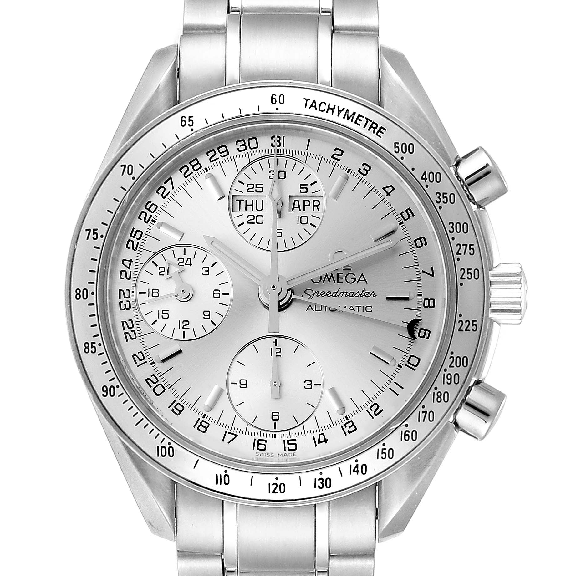 Photo of Omega Speedmaster Day Date Chronograph Silver Dial Mens Watch 3523.30.00