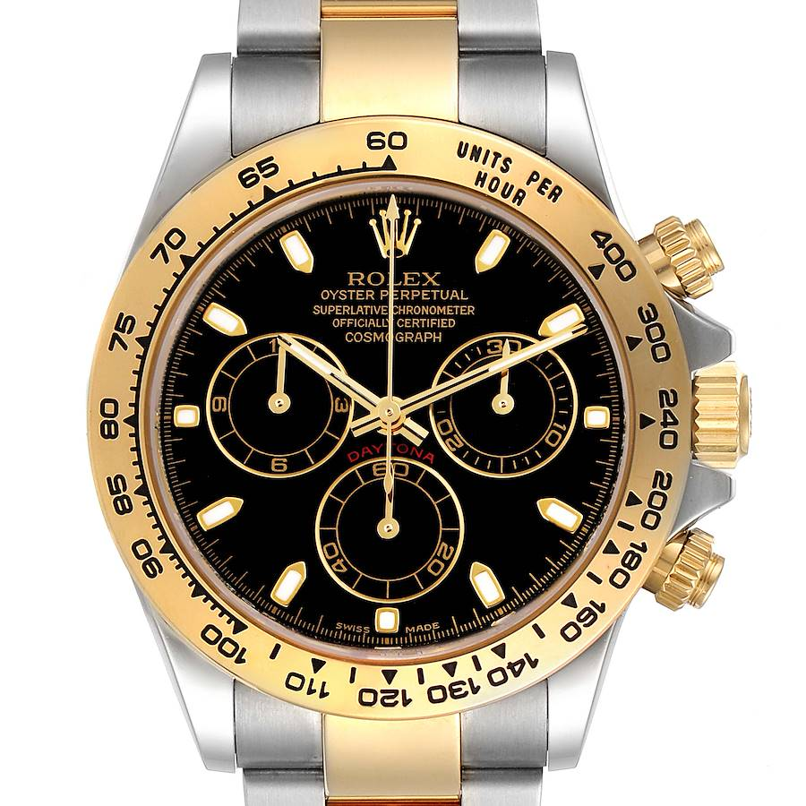 Rolex Cosmograph Daytona Steel Yellow Gold Black Dial Mens Watch 116503 Box Card SwissWatchExpo