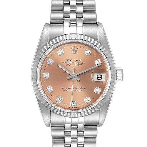 Photo of Rolex Datejust Midsize Steel White Gold Diamond Watch 78274 Box Papers